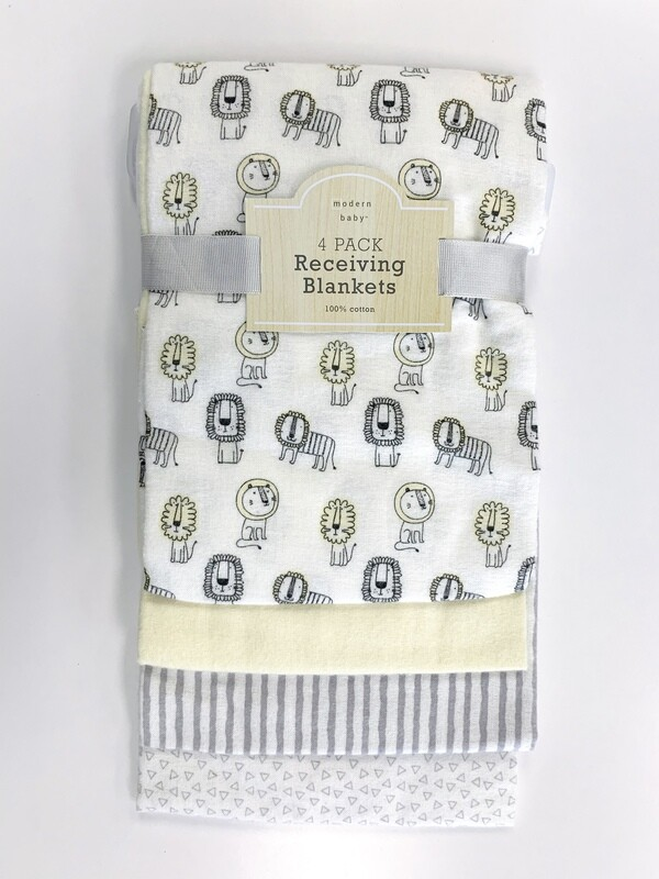 New Yellow Grey Lions Modern Baby 4 Pack Receiving Blankets
