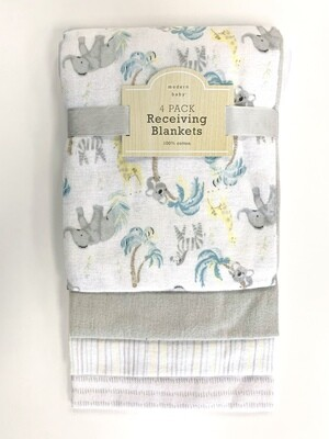 New Animals Modern Baby 4 Pack Receiving Blankets