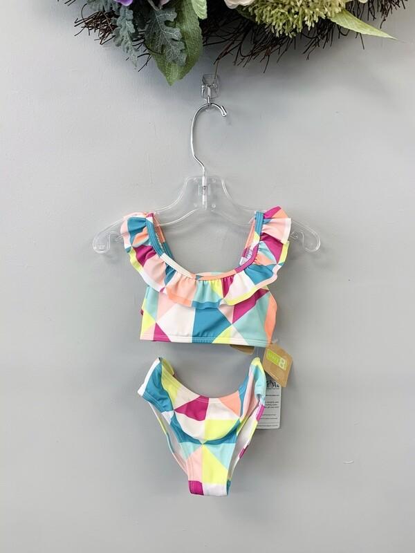 New Multicolored Shapes Crazy8 Bikini Swim Suit, 2T