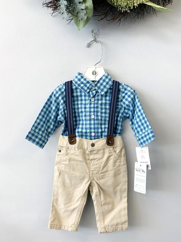 New Mint Blue Shirt Khakis & Suspenders Carter's Outfit Set, 3M