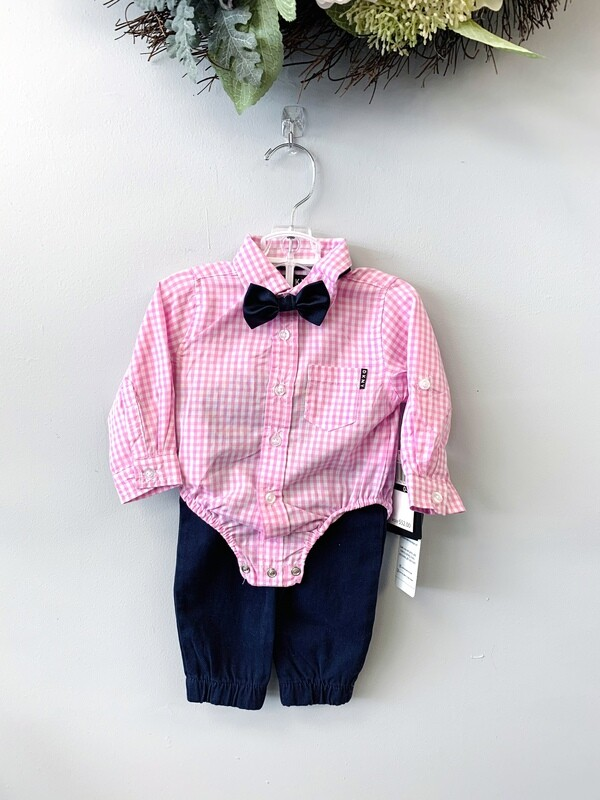 New Pink Checkered Navy Pants DKNY Outfit Set, 0/3M