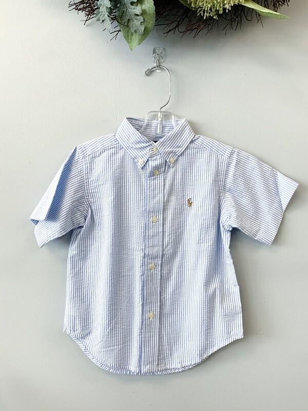 New Light Blue White Seersucker Ralph Lauren Button Up Shirt, 3T