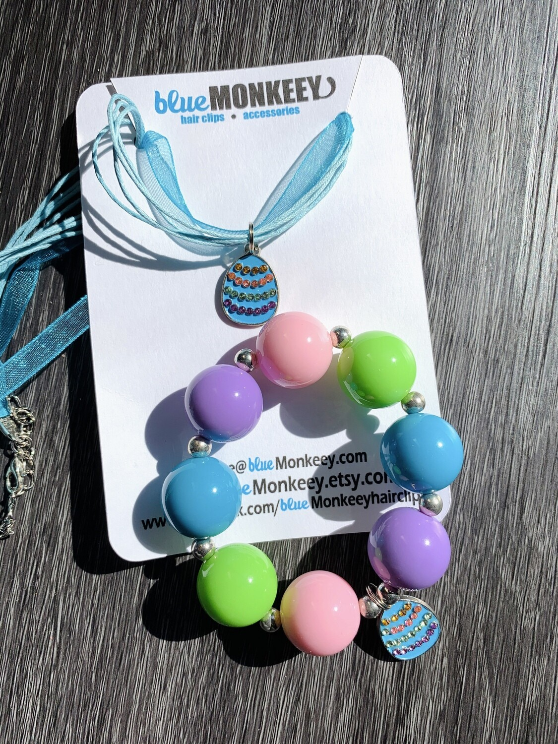 Blue Chunky Bracelet & Necklace Easter Set