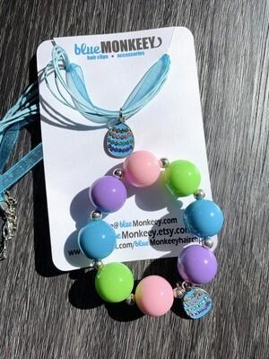 Blue Chunky Bracelet & Necklace Easter Set
