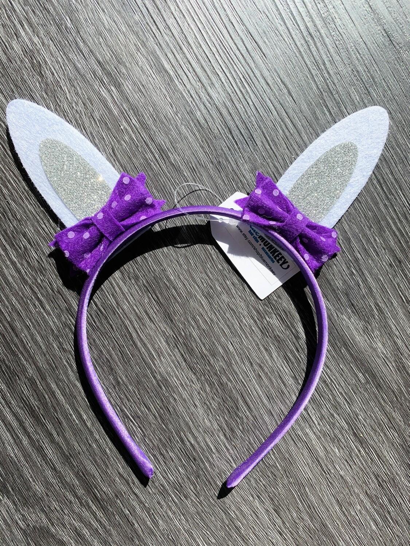 Purple Silver Easter Ears Headband