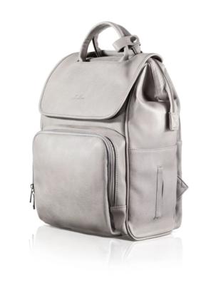 New Vegan Leather La Mare Grey Diaper Bag Backpack