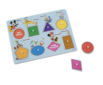 Disney Mickey Mouse Colors & Shapes Melissa & Doug Wooden Peg Puzzle