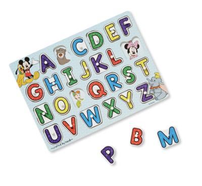 Disney Classics Wooden Alphabet Melissa & Doug Peg Puzzle