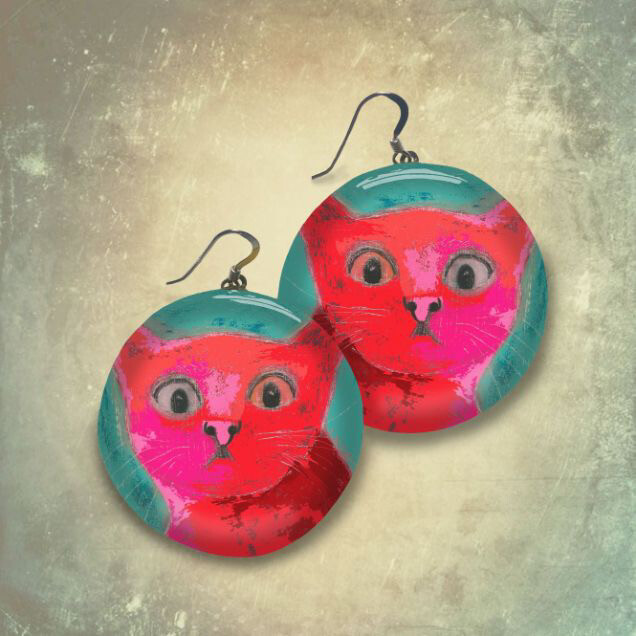 """""""Startled Cat"""" Disk Earrings"""