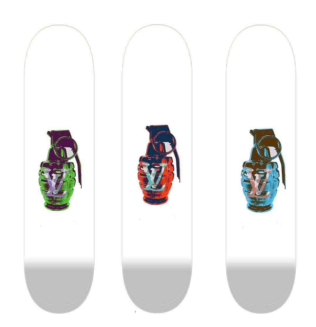 LV GRENADE 3X Skateboard Som Skal Henge På Veggen