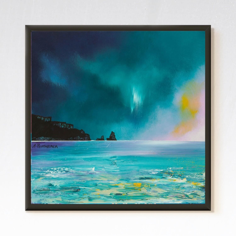 ISLE OF SKYE, STORM APPROACHING TALISKER BAY, SCOTLAND - Abstrakt Kunst ( Kommer Med Innramming )