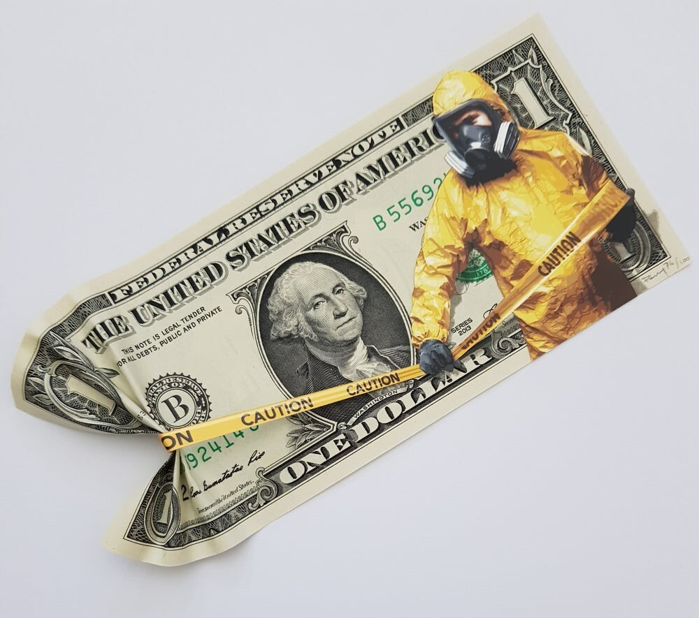 "PENNY ""PROTECTED INTEREST"" - MIXED MEDIA ON ONE DOLLAR BILL , LTD ED 100"
