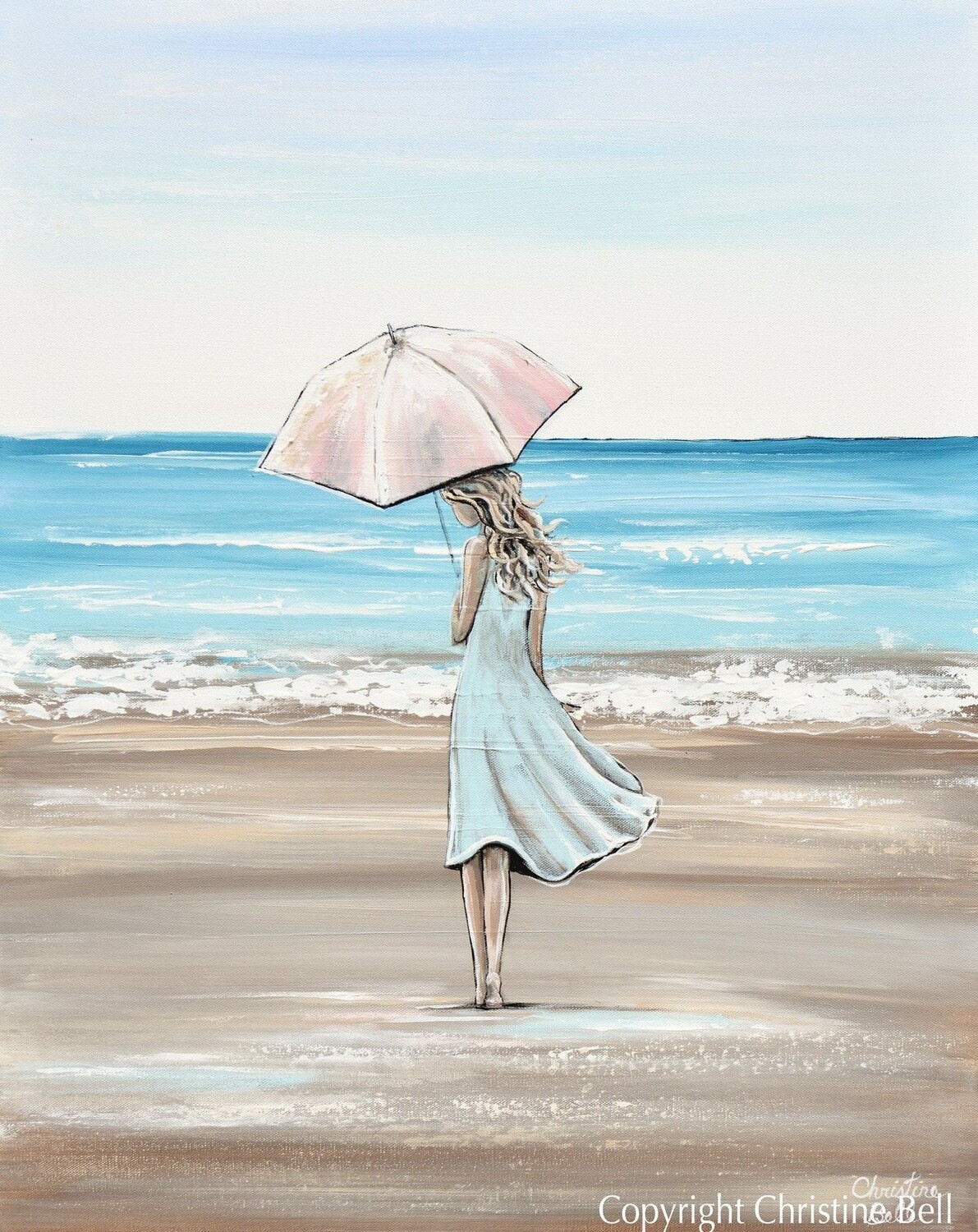 """Just a Beach Girl at Heart"" Art Woman with Pink Umbrella Beach Ocean"
