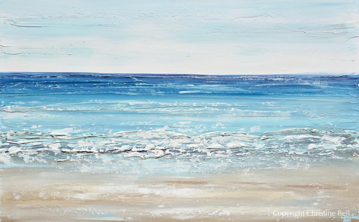 """""""Sapphire Sea"""" Art Coastal Abstract Painting Ocean Blue White Canvas Beach Decor"""