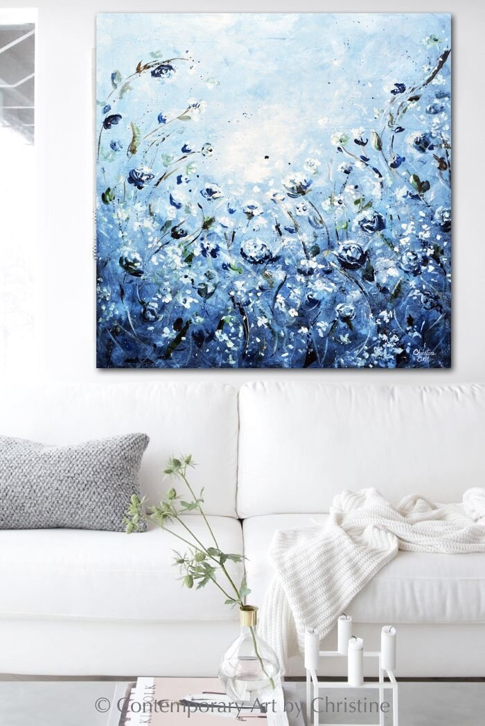 Abstract Floral Painting Blue White Flowers