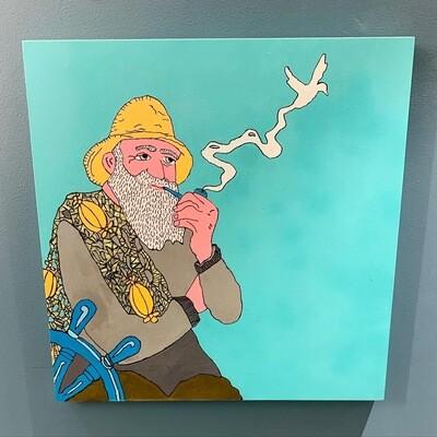 """"""" Drømmer Meg Bort """" - Fiskeren - Originalt Maleri På Lerret Laget Av Markus Günther"""