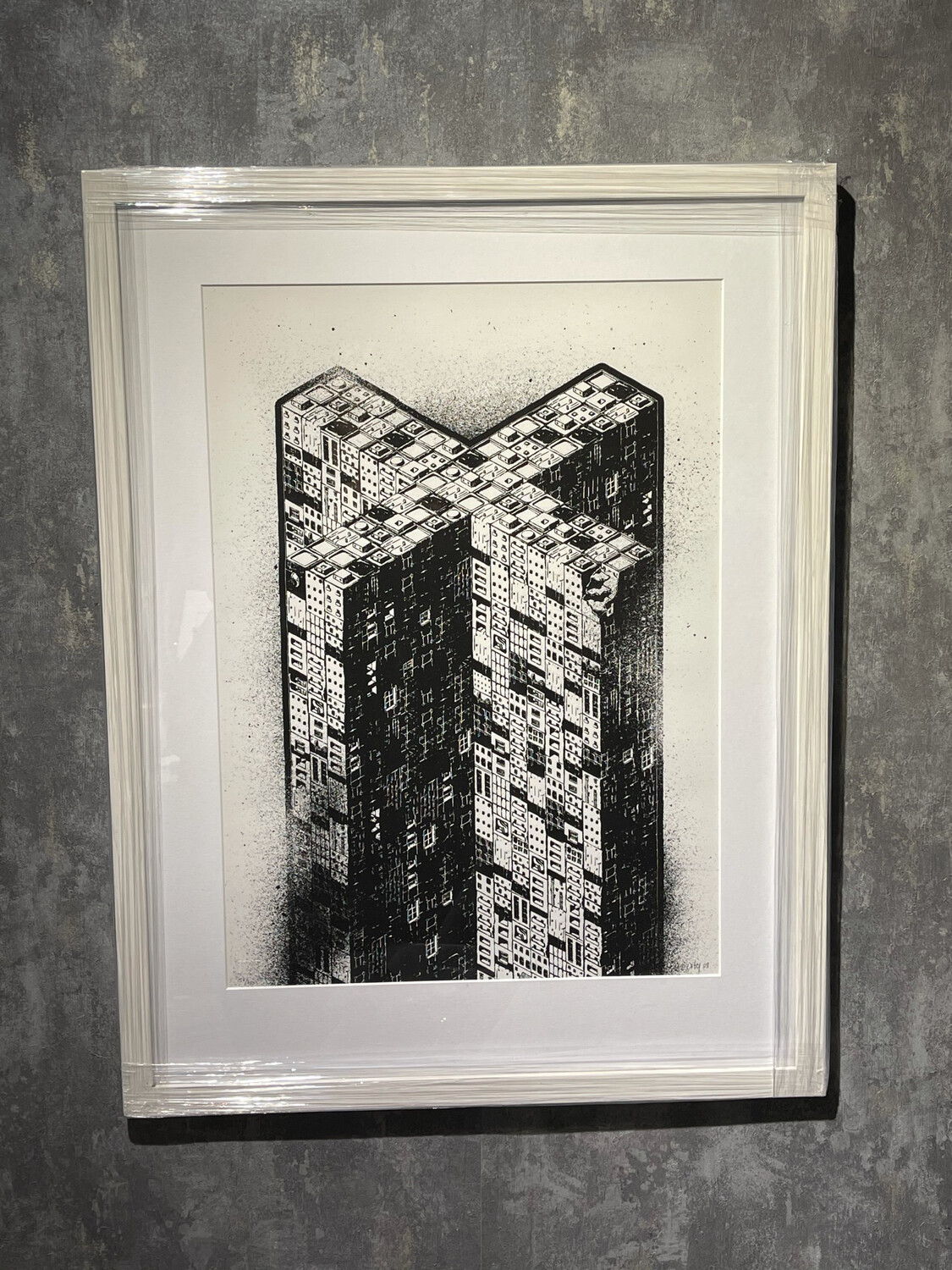M - City title: X - Comes With White Frame & Art Glass - Geir's Rammeservice