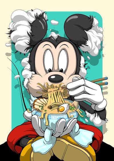 """Deconstructed MICKEY eats RAMEN"" Fine Art Print by Dhani Barragan"