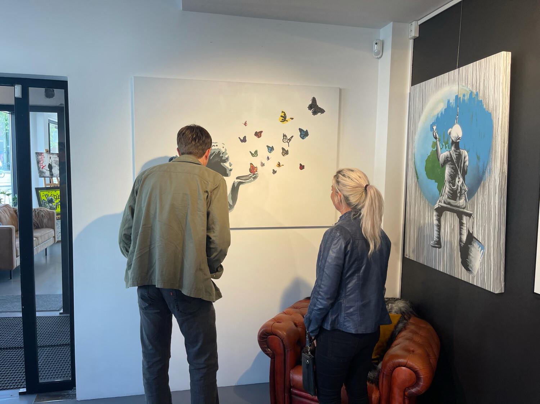 Sommerfugl I Vinterland - Original On Canvas 140x100cm - Unique