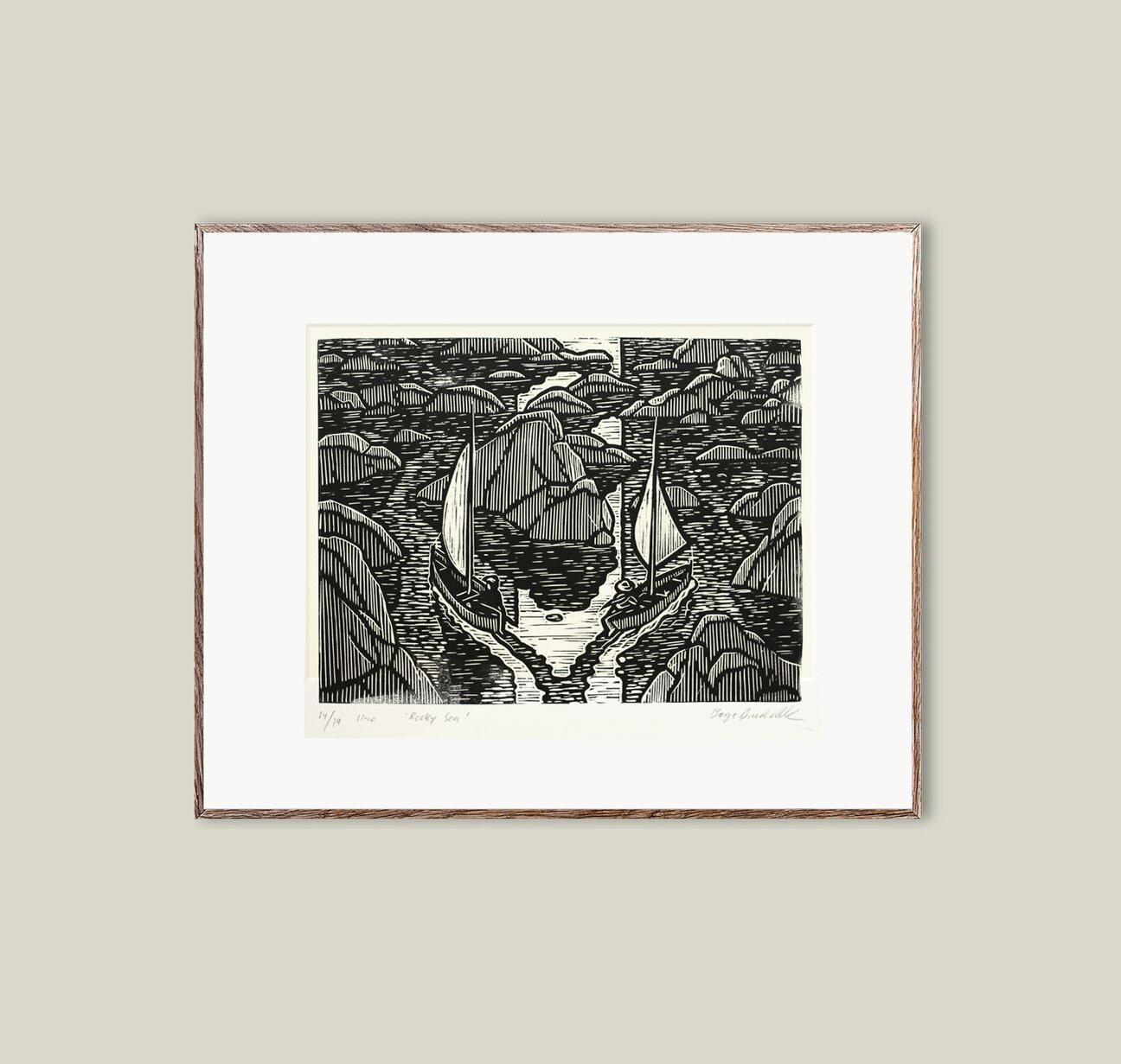 Rocky Sea - Art Print Linoleum Block