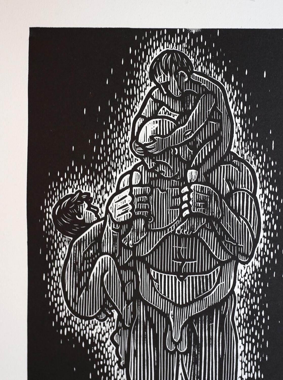 Father And Son - Linoprint By B . Bredenbekk