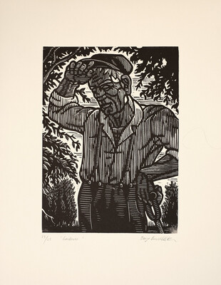Børge Bredenbekk - Working Man - art print - lino print - beige washi paper