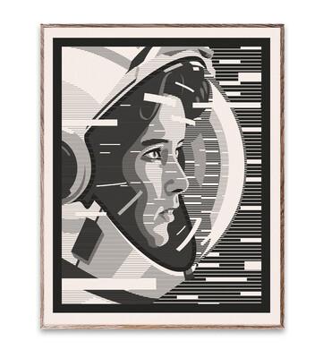 300g White Hahnemuhle Paper - Astronaut Artwork By B Bredenbekk