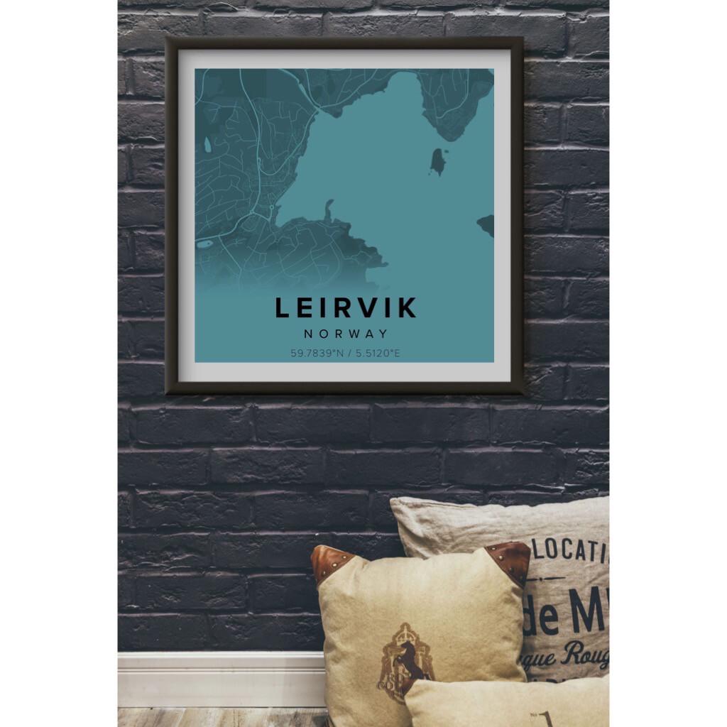 Kart - Leirvik - Blå - Kunstverk