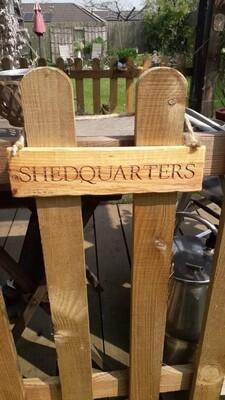 Shedquarters Hanging Sign