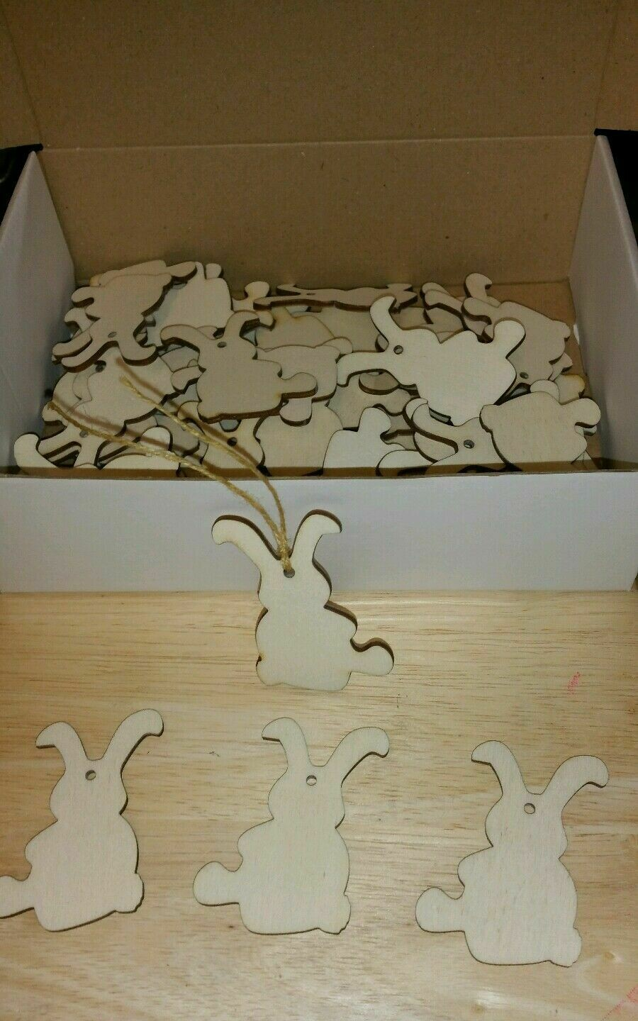 Wooden Easter Bunny Shape Gift Tags x 48