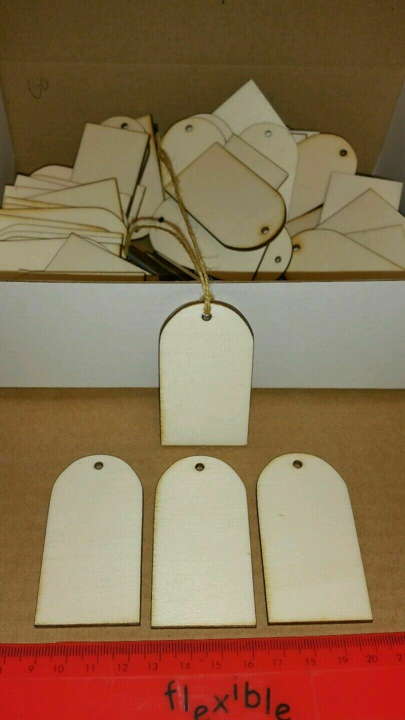 Wooden Oval Top Shape Gift Tags x 65