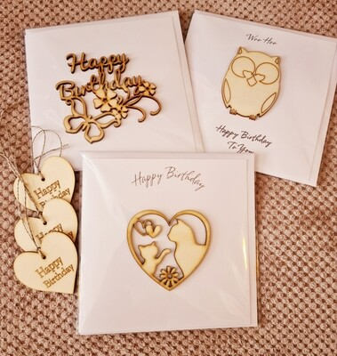 Birthday Card Bundle with 3 Wooden Gifts Tags
