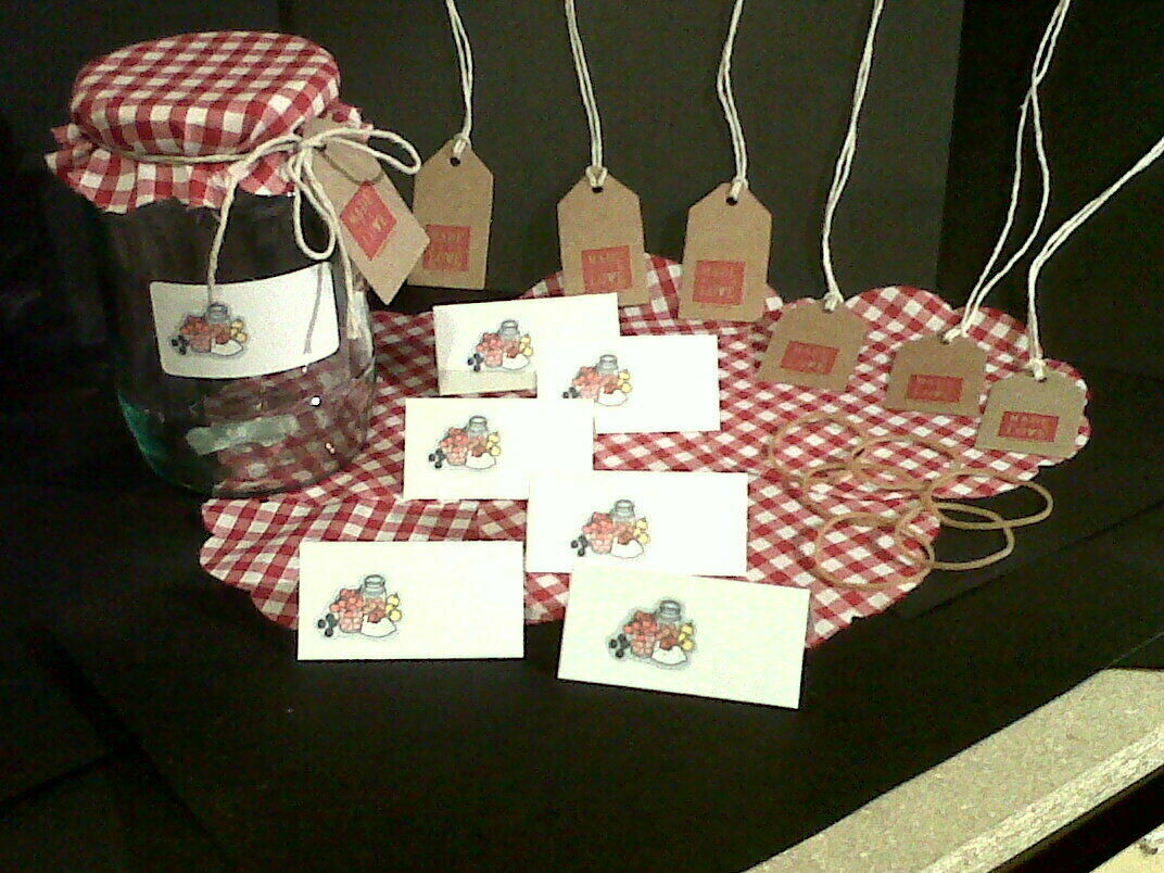 Red Gingham Jar Covers x 6