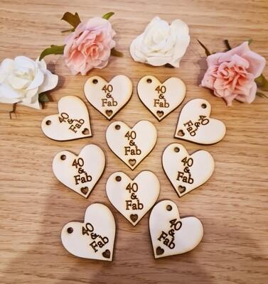 40 & Fab Heart Tags with hole x 10