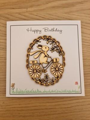 Happy Birthday Bunny on a Bike Card