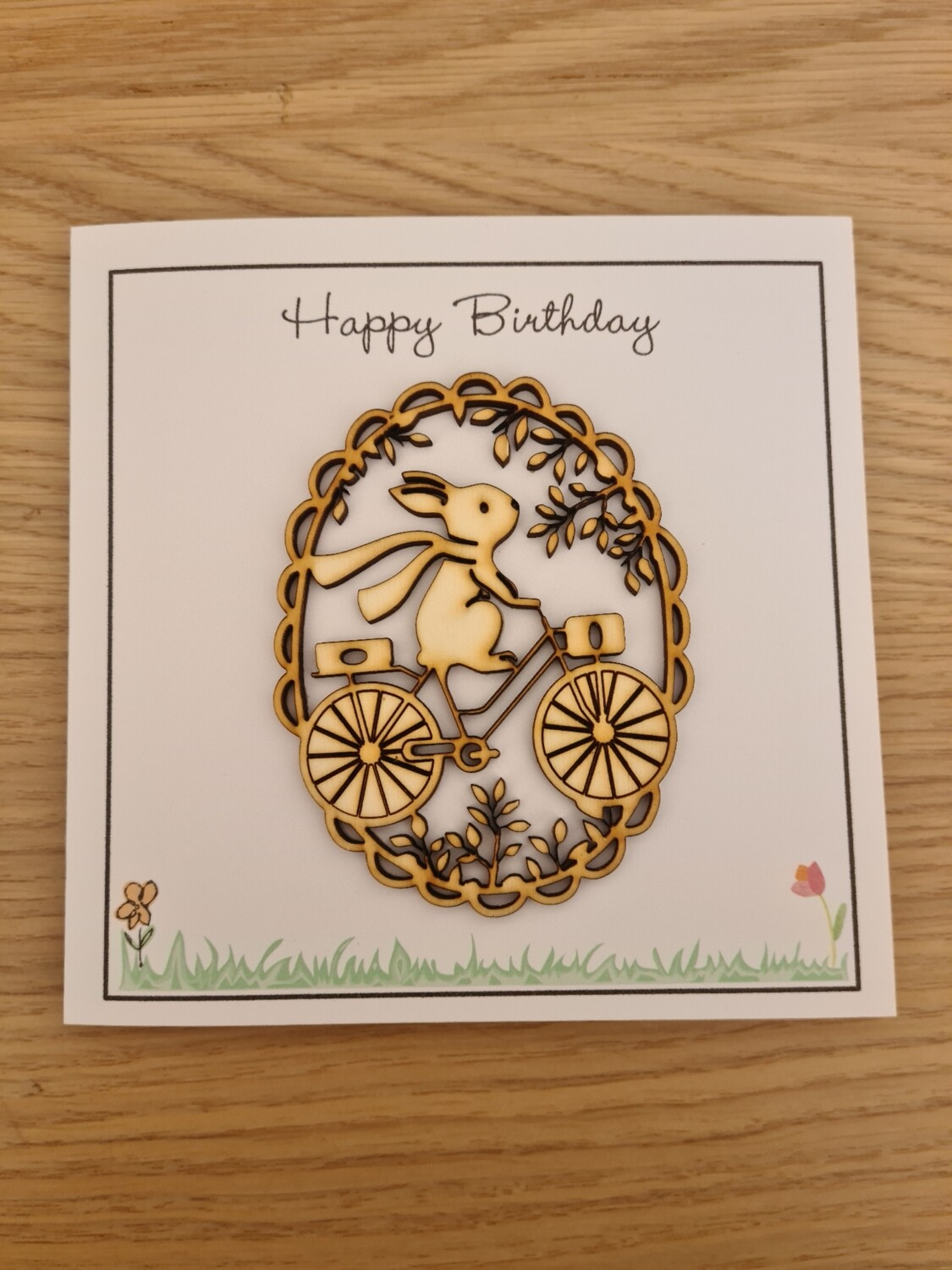 Happy Birthday Bunny on a Bike Card