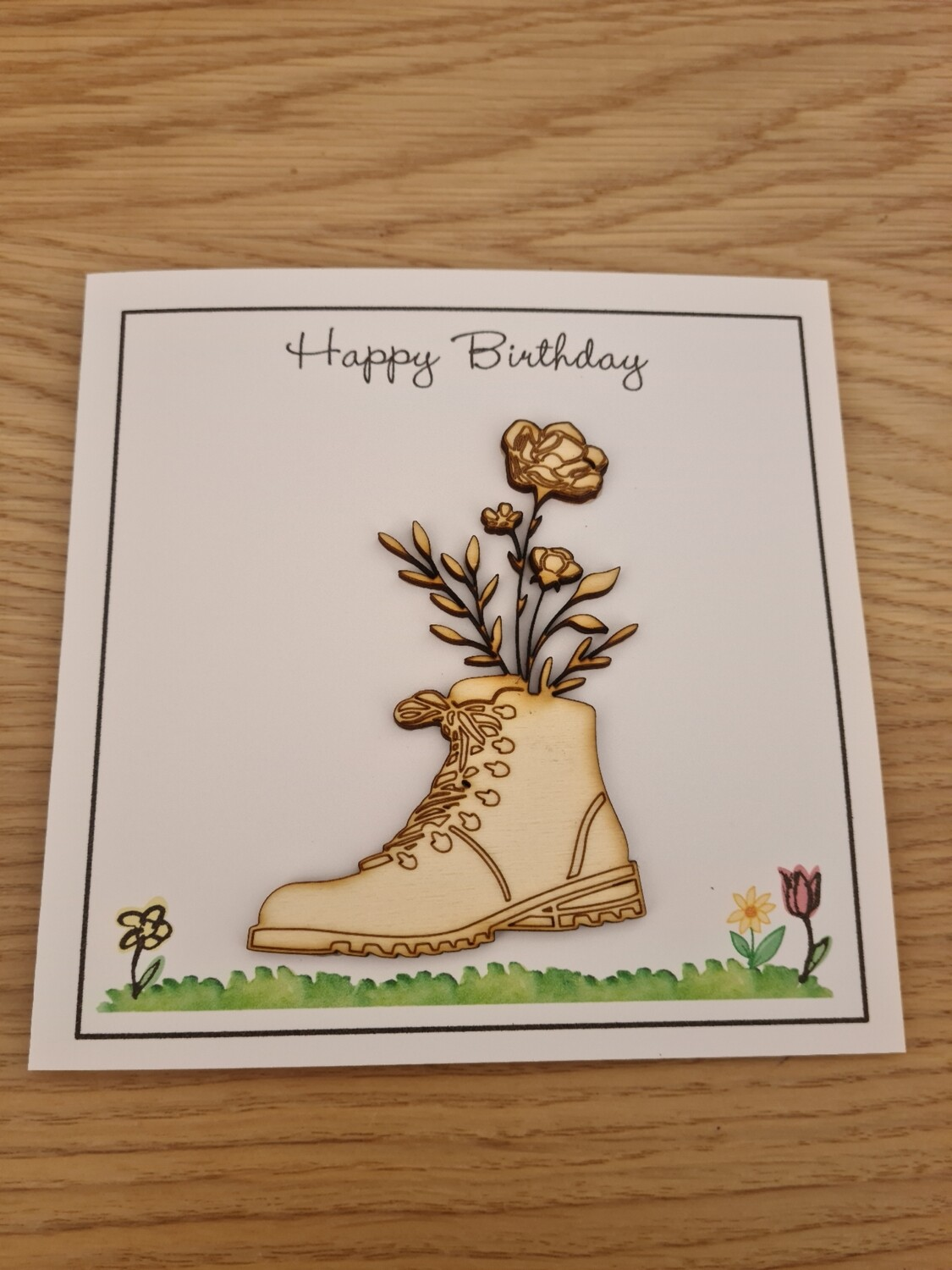 Happy Birthday Flower in a Boot Card