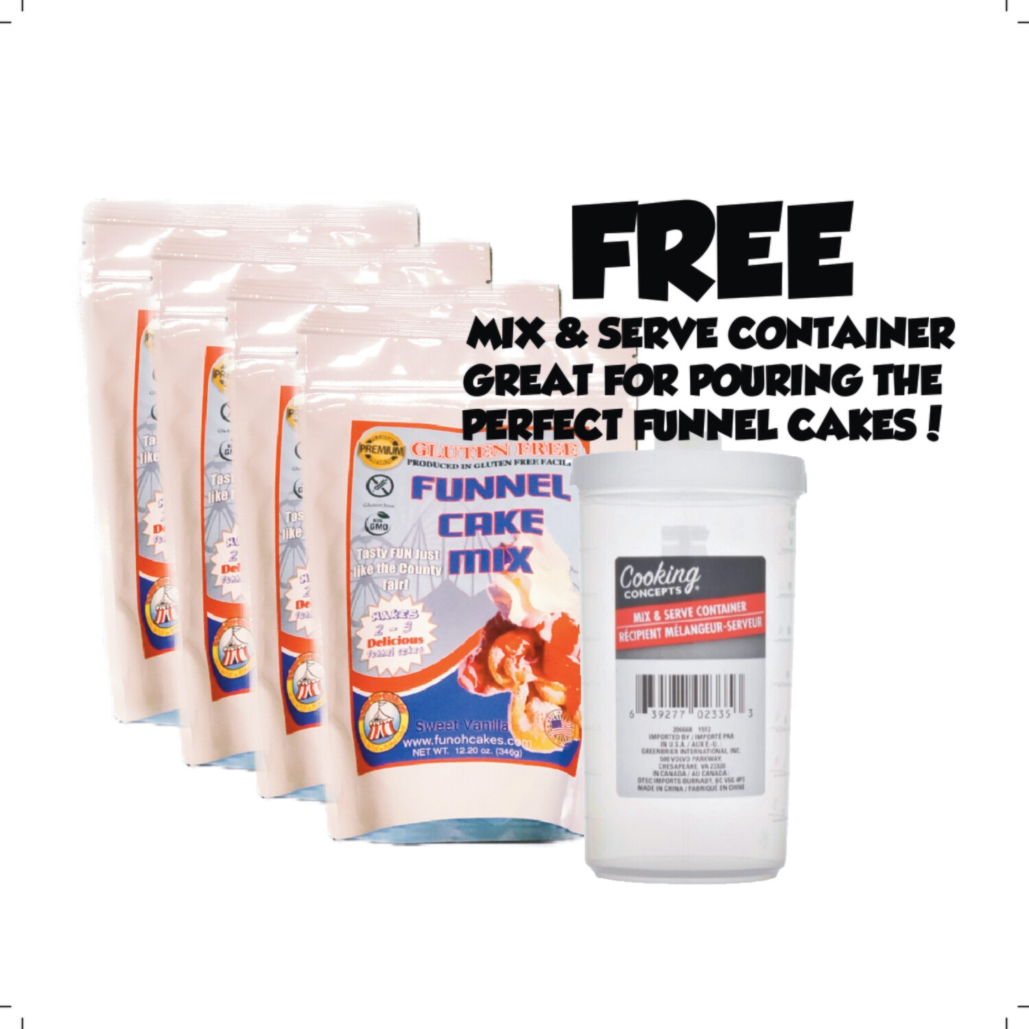 Gluten-Free Funnel Cake Mix - 4 Bag Package