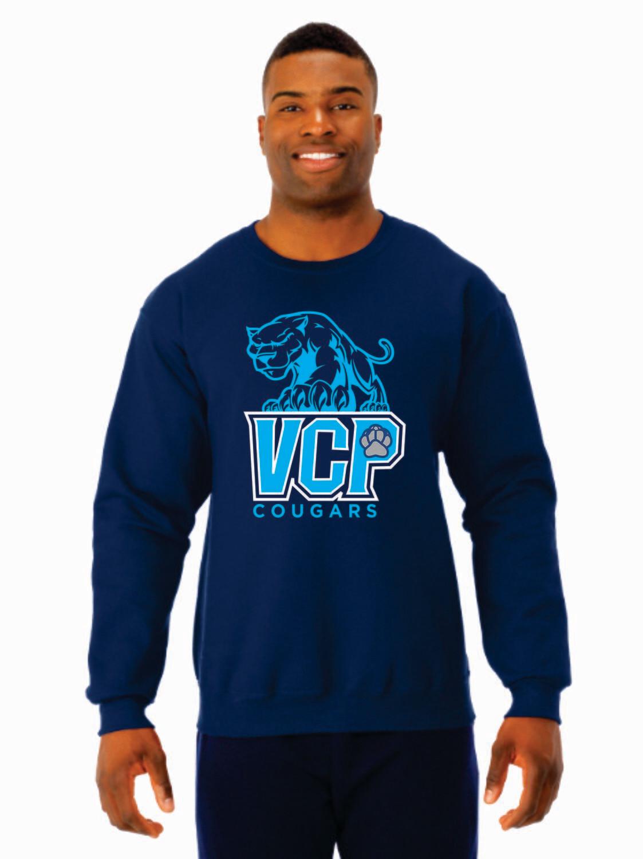 VCP Cougars Crewneck Sweatshirt With Screen Printed VCP Logo