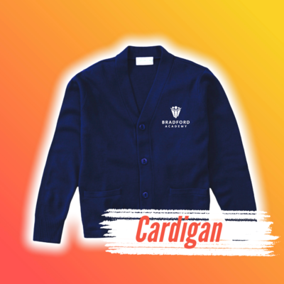 Bradford Academy Cardigan Sweater with Embroidered Logo