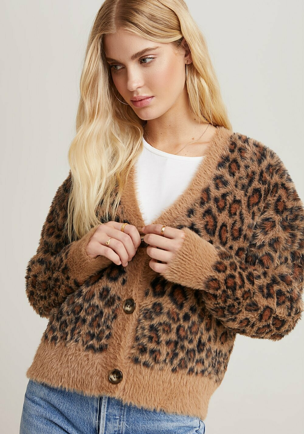 Bella Dahl Sweater Cardigan-Golden Leopard
