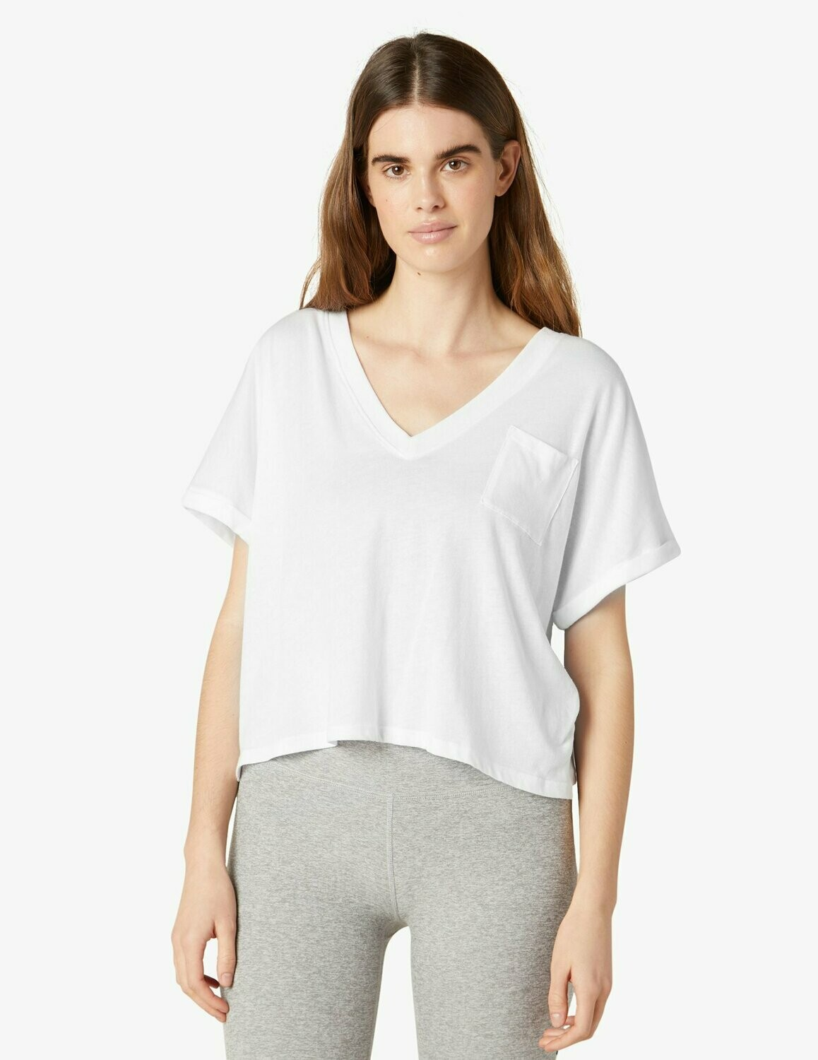 Beyond yoga deep v pocket tee