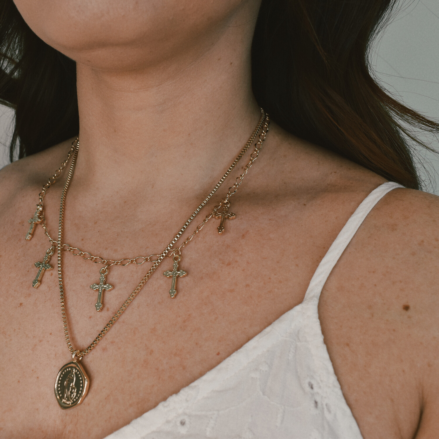 Cross and Coin Layered Necklace