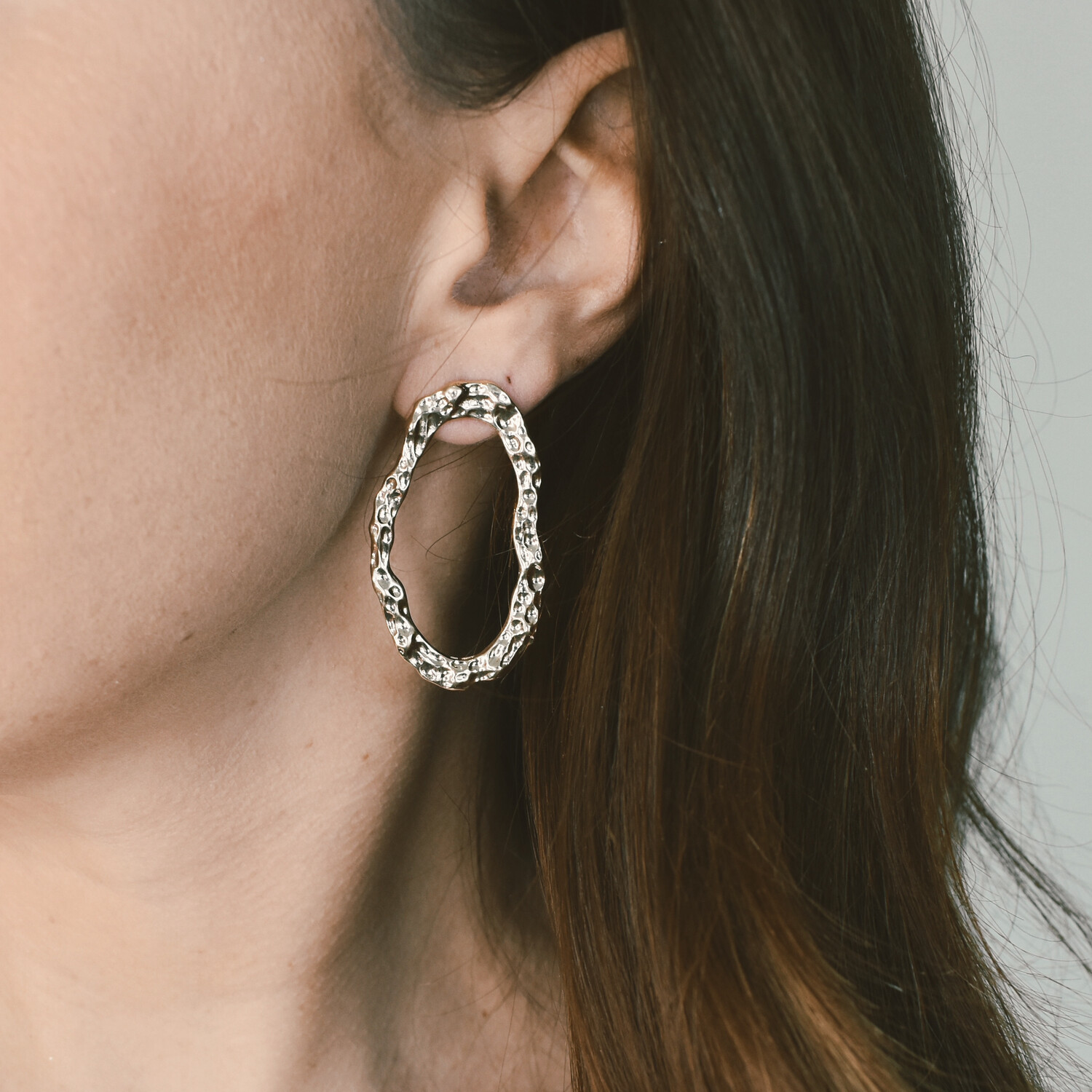 Hammered Gold Oval Drop Hoops