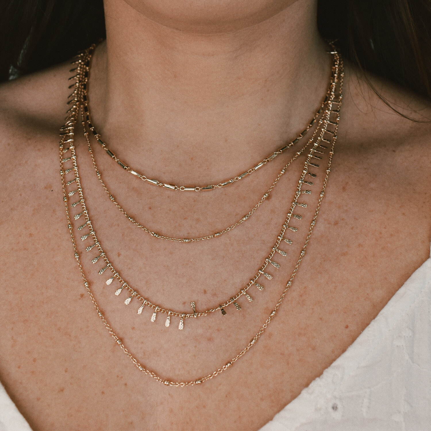 Worn Gold 4 Layer Chain Necklace