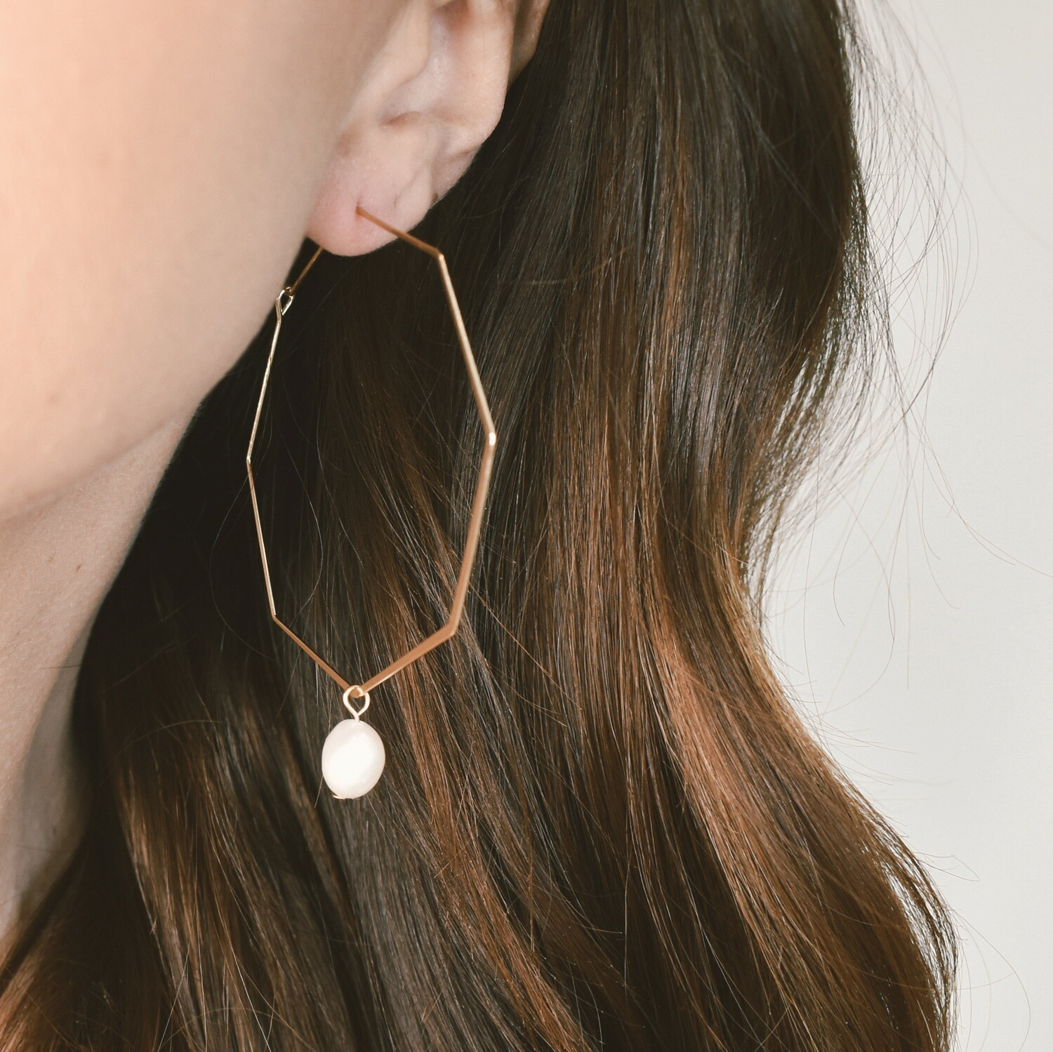 Octagon Gold and Pearl Hoops