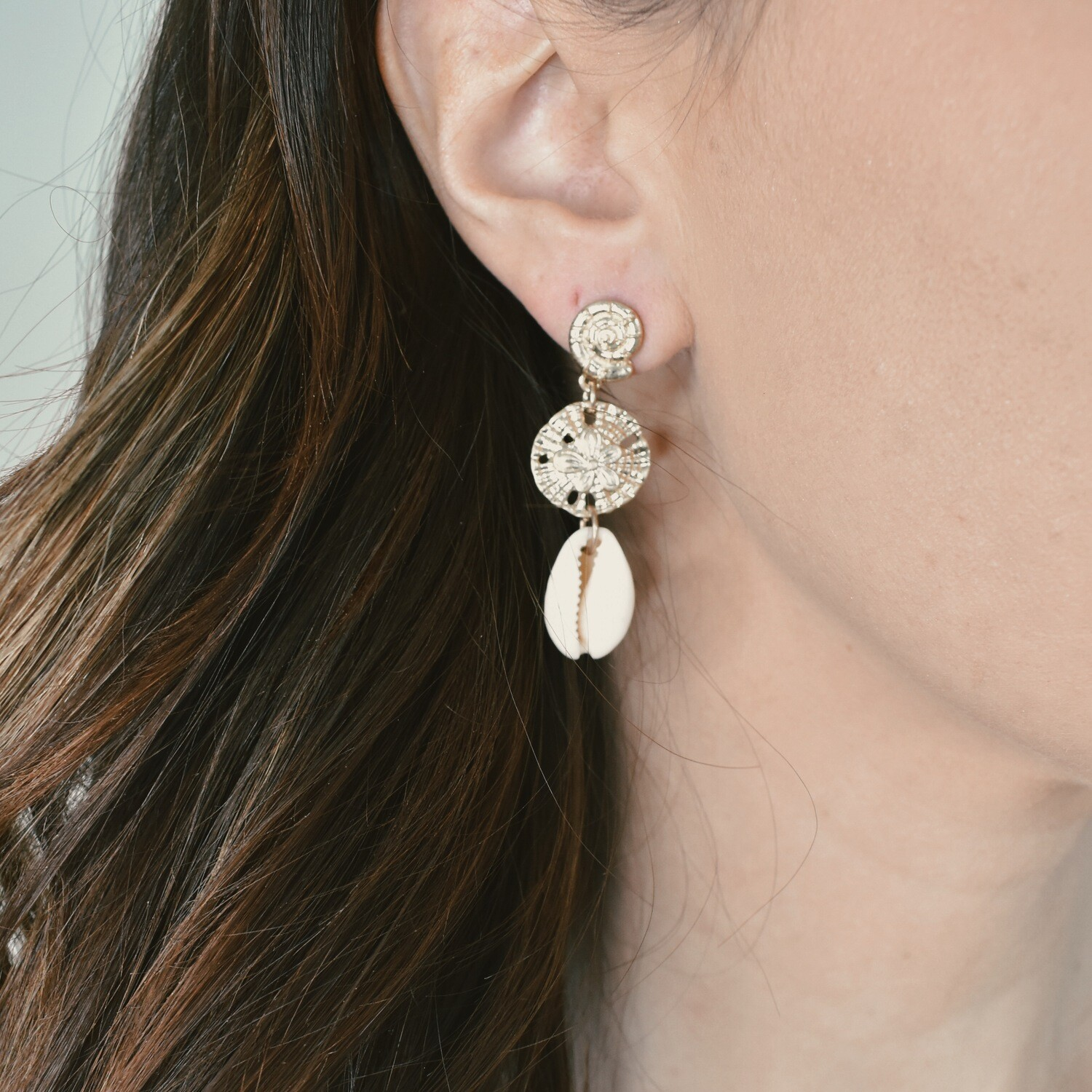 Gold Sand Dollar and Shell Earrings