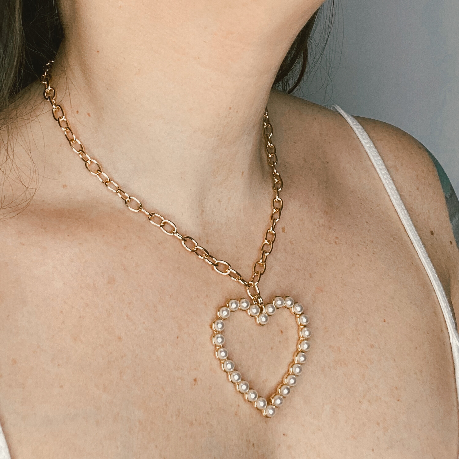 Pearl Heart Chain Necklace