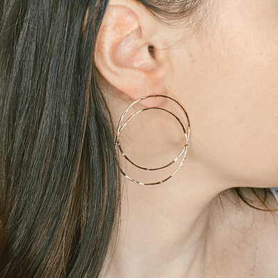 Hammered Melted Ring Earrings