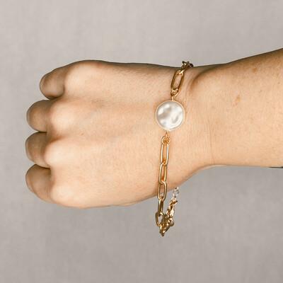 Pearl Pendant Chain Bracelet